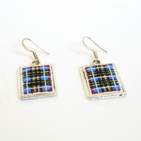 Edinburgh Tartan Cross Stitch Earrings Blue Scottish Earrings