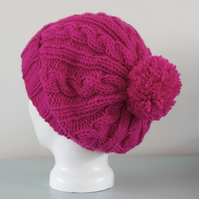 Pink Cable Hat Knitted Pom Pom Slouchy Beanie Hat