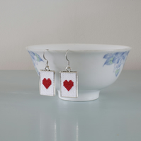 Red Heart Cross Stitch Earrings in Silver Plated Frames