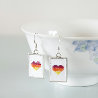 Rainbow Heart Cross Stitch Earrings with Silver Frames