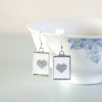 Silver & Blue Heart Cross Stitch Earrings with Silver Frames
