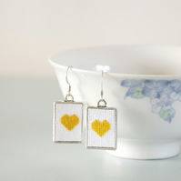 Yellow Heart Cross Stitch Earrings with Silver Frames