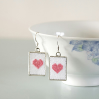 Pastel Pink Heart Cross Stitch Light Pink Earrings with Silver Frames