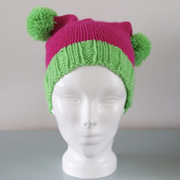 Pink & Green Double Pom Pom Hat - Knitted Chunky Merino Wool Beanie Hat