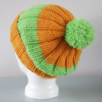 Orange & Green Slouchy Beanie Hat - Colourful Ribbed Chunky Pom Pom Hat