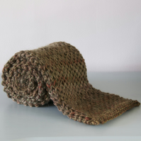 Honeycomb Scarf - Knitted Chunky Brown Merino Wool Scarf