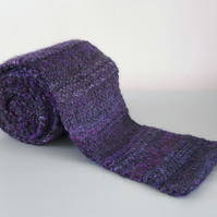 Purple Ribbed Scarf - Chunky Merino Wool Knitted Scarf