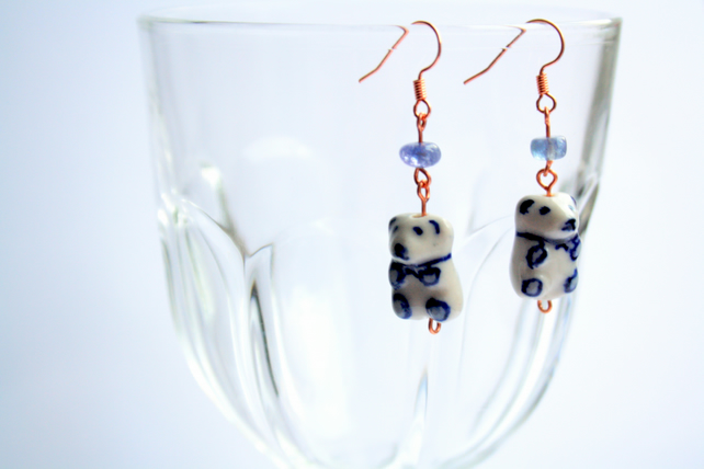 Teddy and Tanzanite Copper Dangle Earrings