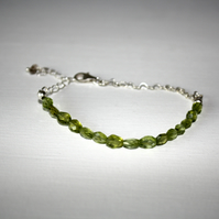 Peridot and Sterling Silver Heart Chain Bracelet, August Birthstone Jewellery