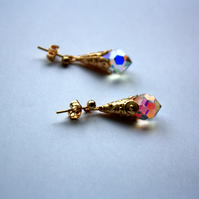 Crystal and Gold Drop Stud Earrings, Sparkle Drop