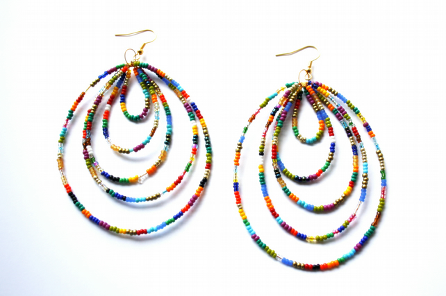 Big Boho Statement Colorful Rainbow Beaded Earrings, Festival Wear, Accessories