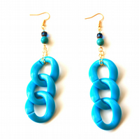 Statement Earrings, Chunky Blue Curb Chain and Gold Dangle Earrings, Accessories
