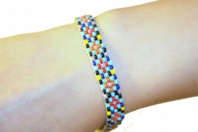 Loom Patterned Beaded Friendship Bracelet Multicoloured, Beadwork Jewellery