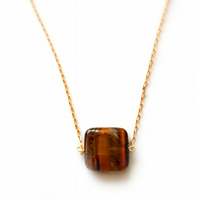 Tiger's Eye Pendant Necklace, Raw Brass Rectangle Chain and Gold Plated