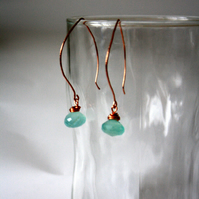 Aqua Chalcedony Faceted Dangle Earrings, Handmade Copper Ear wires