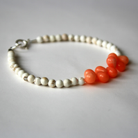 Coral Drop and Magnesite, Sterling Silver Beaded Bracelet, Gemstone Bracelet