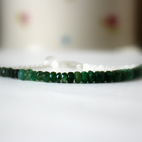 Emerald Sterling Silver Bracelet, Faceted Color Graduated Precious Gemstones