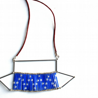 Geo Beaded Bib Necklace Red White and Blue, Cord Necklace, Accessories