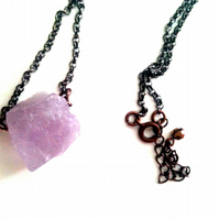Rough Amethyst Pendant Necklace, Gun Metal and Antique Copper Rolo Chain