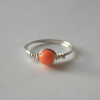 Coral Drop Ring, Gemstone Ring, Small Ring, Pinky Ring, Silver Plated Wire