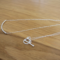 Sterling Silver Curve Tube Chain Necklace, 925 Jewellery, 18 inch Cable Chain