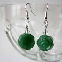 Aventurine Hand Carved Rose and Clear Quartz Dangle Earrings, Accessories