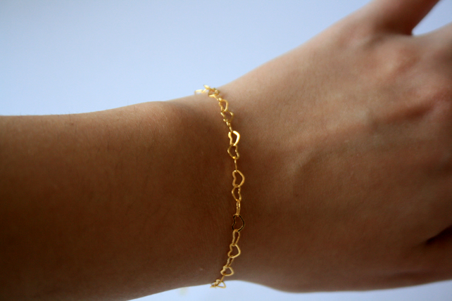 Gold Plated Heart Chain Bracelet, Adjustable Bracelet, Heart Jewellery