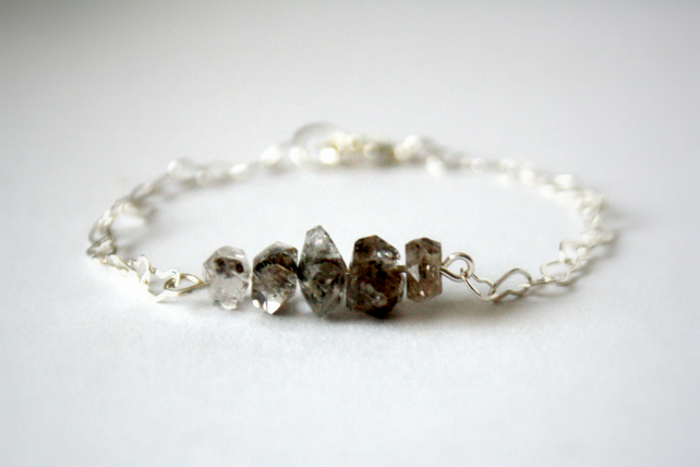 Herkimer Diamond Silver Heart Chain Bracelet, Silver Plated
