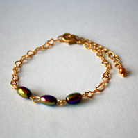 Rainbow Haematite and Gold Plated Heart Chain Bracelet