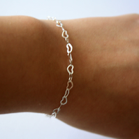 Silver Plated Heart Chain Bracelet