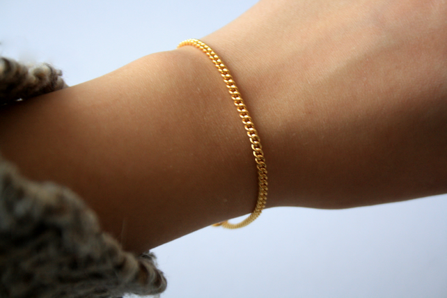 Gold Plated Curb Chain Bracelet, Gold Plated Jewelry, Arm Candy
