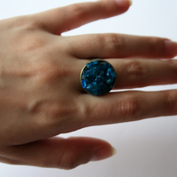 Neon Blue Apatite and Bronze Adjustable Ring