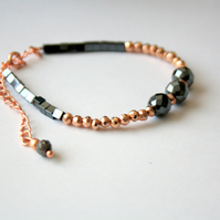 Rose Gold, Hematite, and Copper Color Coated Pyrite Beaded Bracelet, Gemstone