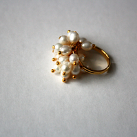 Freshwater Pearl Cluster Ring, Gold Plated, Beaded, Adjustable Ring