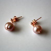 Peach Pearl and Rose Gold Stud Earrings, Freshwater Pearls