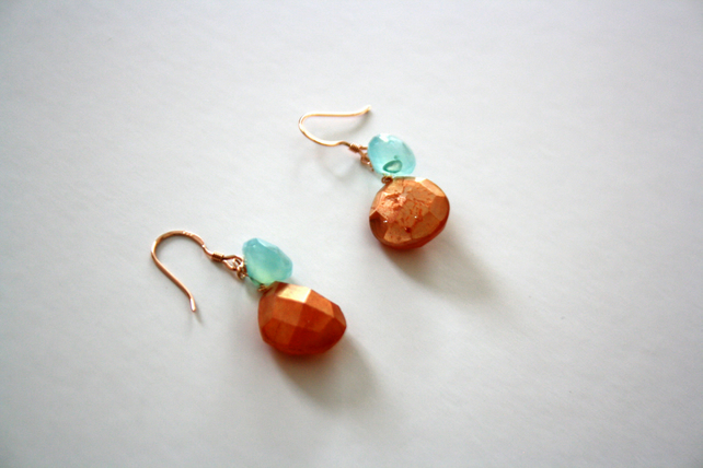 Rose Gold Chalcedony Drop Dangle Earrings, Golden Orange and Seafoam