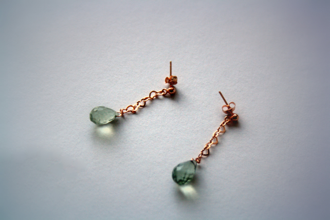 Drop Earrings, Studs, Green Amethyst and Rose Gold Plated Sterling Silver