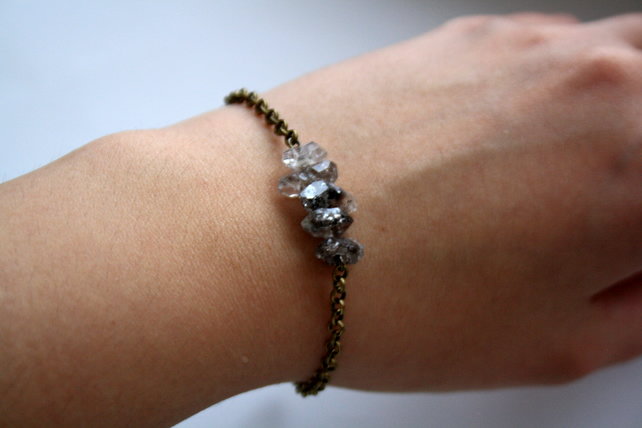 Herkimer Diamond Bracelet - Gemstone and Antique Bronze Chain Bracelet, Raw