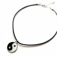 Yin and Yang Choker Necklace, Black Leather Cord Choker, Silver Plated, Enamel