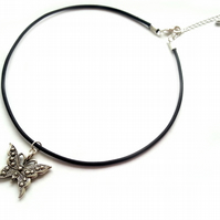 Butterfly Charm Choker Necklace, Black Leather Cord Choker, Silver Plated Charm