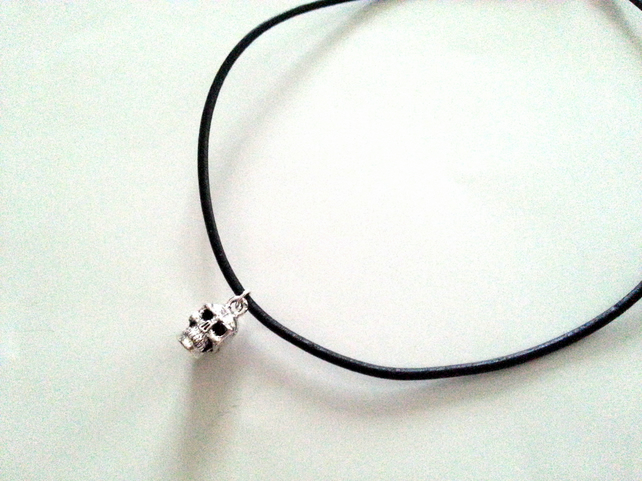 Skull Choker Necklace, Black Leather Cord Choker, Silver Plated Charm