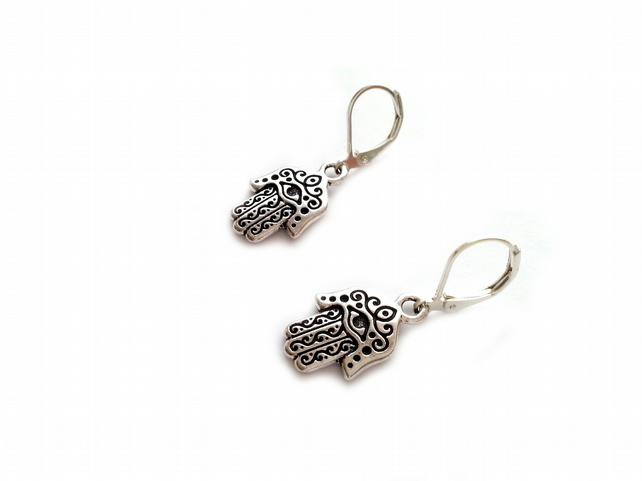 Hamsa Hand Evil Eye Charm Leverback Earrings, Silver Plated, Pewter