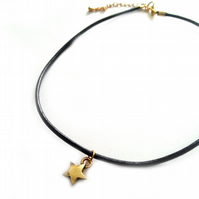 Little Star Choker, Gold and Black Leather Cord Choker Necklace, Little Charm