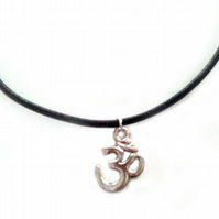 Om Choker Necklace, Black Leather and Silver Plated Charm Choker Necklace