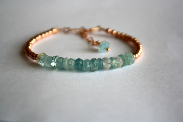 Aquamarine and Rose Gold Bracelet, 14K Rose Gold Filled Beaded Bracelet