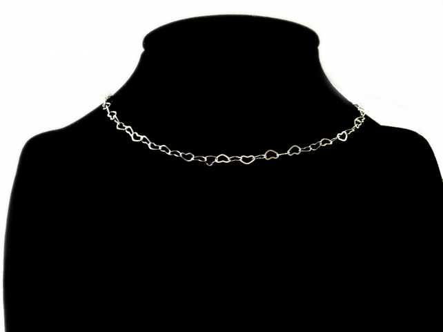 Heart Chain Choker, Silver Plated, Adjustable Size