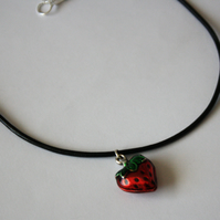 Strawberry Choker Necklace, Black Leather and Silver Plated Charm with Enamel