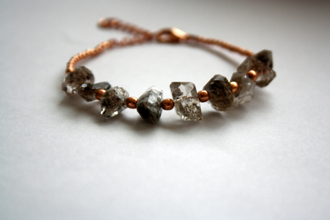 Herkimer Quartz Rose Gold Beaded Bracelet, Raw Crystal Jewellery