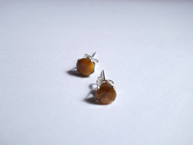 Tiger's Eye Stud Earrings, Sterling Silver, Gemstone Jewelry