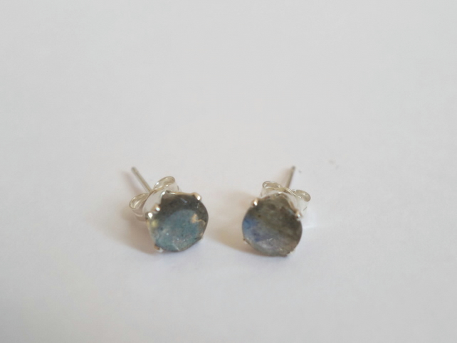 Flashy Labradorite Stud Earrings, Sterling Silver, Gemstone Jewelry